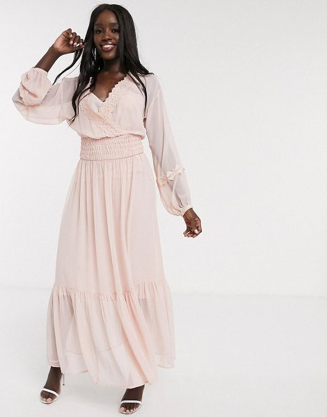 ASOS DESIGN lace insert shirred waist maxi dress in dusky pink in pink