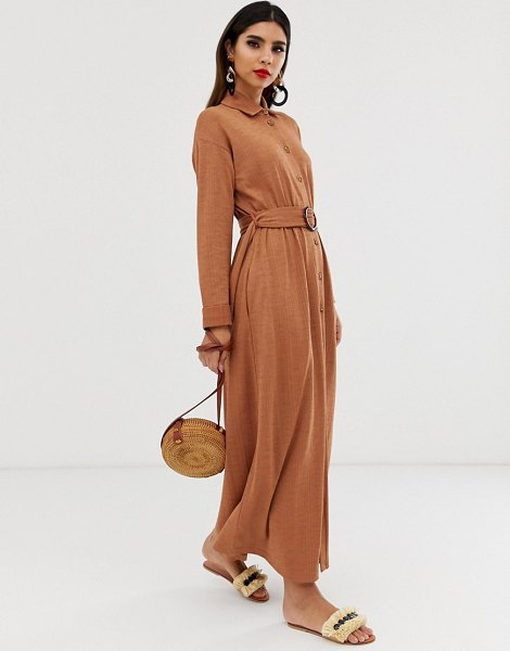 ASOS DESIGN maxi belted textured shirt dress-beige in beige