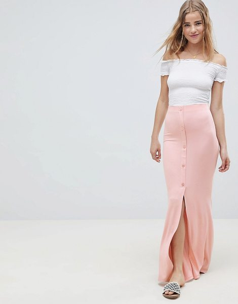 ASOS maxi skirt with button front and split detail in nude - Maxi skirt by ASOS DESIGN, Cute, right? High rise, Just...