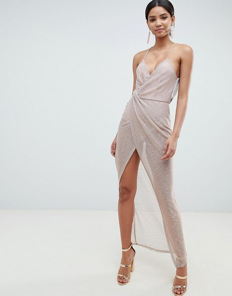 ASOS DESIGN metallic drape maxi dress in rosegold - Dress by ASOS DESIGN, Take that dress code up a level,...