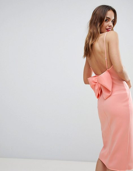 ASOS DESIGN premium bow back cami wrap dress in pink - Dress by ASOS Collection, Take that dress-code up a...