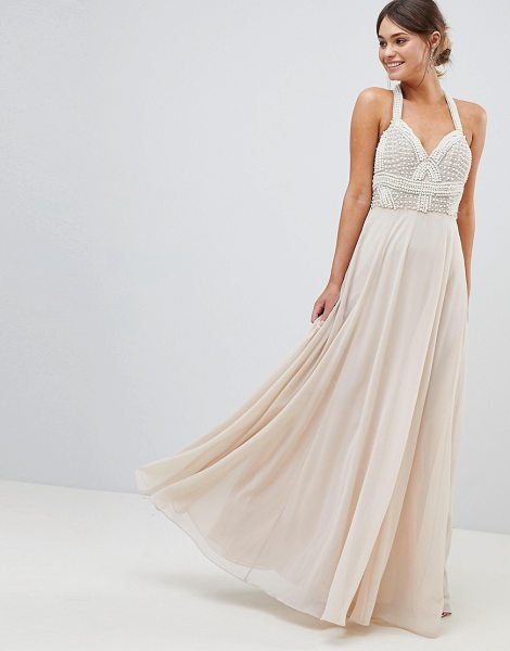 ASOS Premium Embellished Maxi Dress With Pearl Basque in nude - Maxi dress by ASOS DESIGN, For that thing you RSVPd to,...