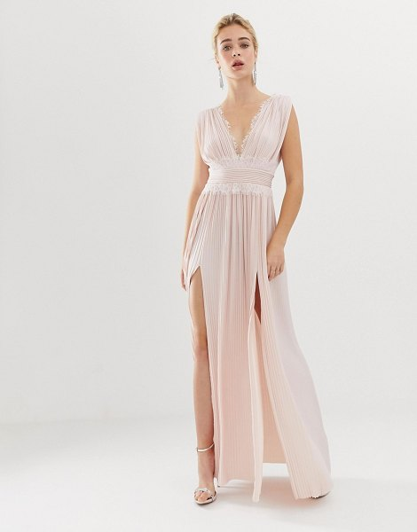ASOS DESIGN premium lace insert pleated maxi dress-pink in pink