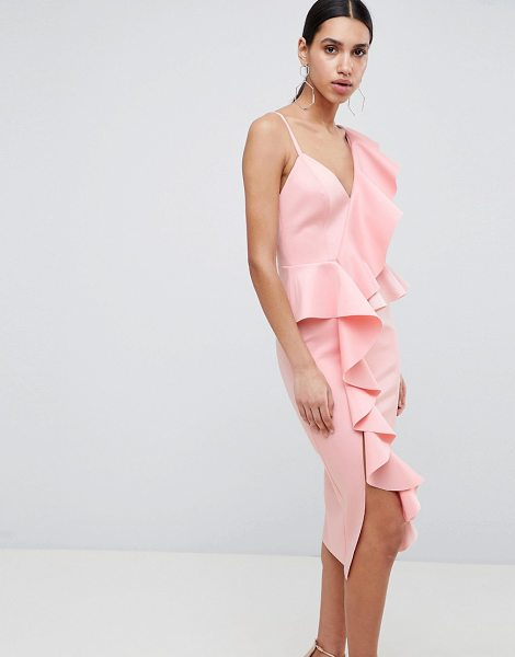 ASOS DESIGN scuba asymmetric ruffle front midi dress in pink - Dress by ASOS DESIGN, Dress to distract, Scuba-style...