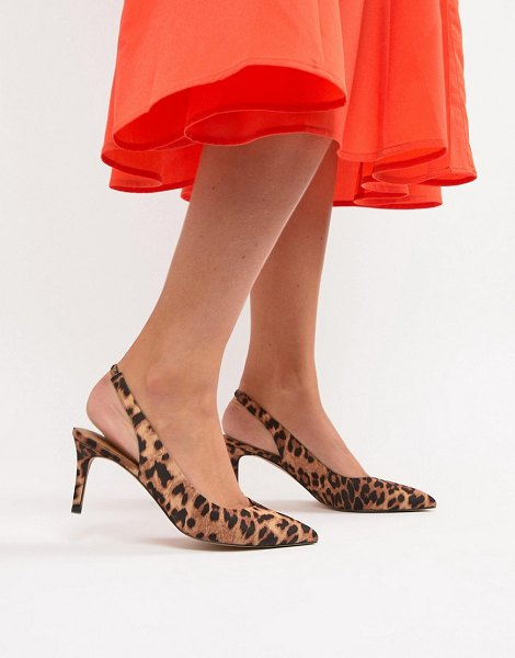 ASOS DESIGN sebastian slingback mid heels in leopard - Heels by ASOS DESIGN, It's an animal-print kinda day,...