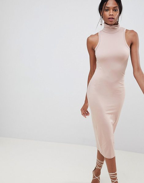 ASOS DESIGN soft touch bodycon dress with turtleneck in mink - Dress by ASOS DESIGN, Cute, right? High neck, Plain...