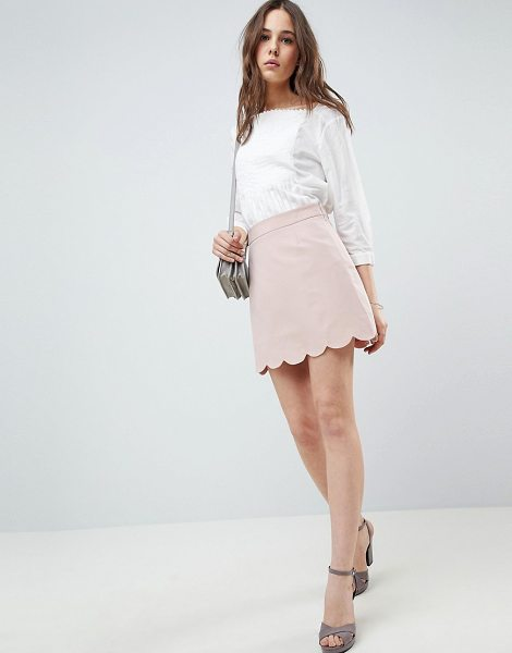 ASOS DESIGN tailored a-line mini skirt with scallop hem in nude - Mini skirt by ASOS DESIGN, Plain design, Understated...