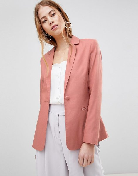 ASOS DESIGN tailored single breasted linen blazer in cosmeticpink - Blazer by ASOS DESIGN, Tailored down to a T, Notch...