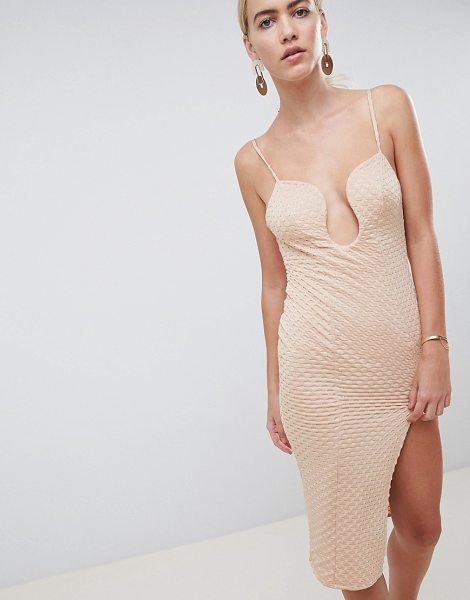 ASOS DESIGN deep v bar midi bodycon dress with thigh split in nude - Midi dress by ASOS DESIGN, For that thing you have to go...