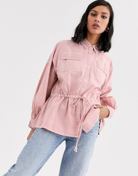 ASOS DESIGN washed long sleeve shirt with tie waist-pink in pink