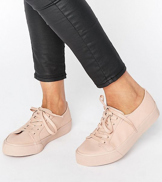 Asos DESTINY Wide Fit Lace Up Sneakers in beige - Sneakers by ASOS Collection, Faux-leather upper, Lace-up...