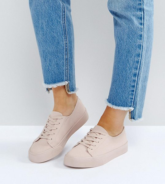 Asos DESTINY Wide Fit Sneakers in beige - Sneakers by ASOS Collection, Textile upper, Lace-up...