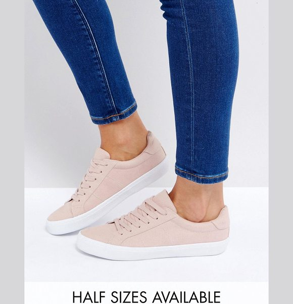 Asos DEVLIN Lace Up Sneakers in nude - Sneakers by ASOS Collection, Textile upper, Lace-up...