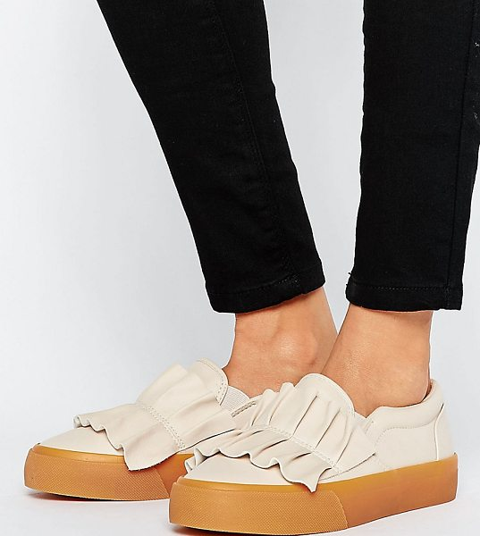 Asos DIDSBURY Ruffle Sneakers in beige - Sneakers by ASOS Collection, Faux-leather upper, Slip-on...