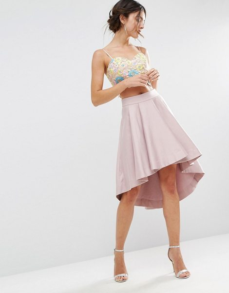 "Asos Premium Dip Back Prom Skirt in Structured Fabric in peachskin - """"Skirt by ASOS Collection, Structured fabric, High-rise..."