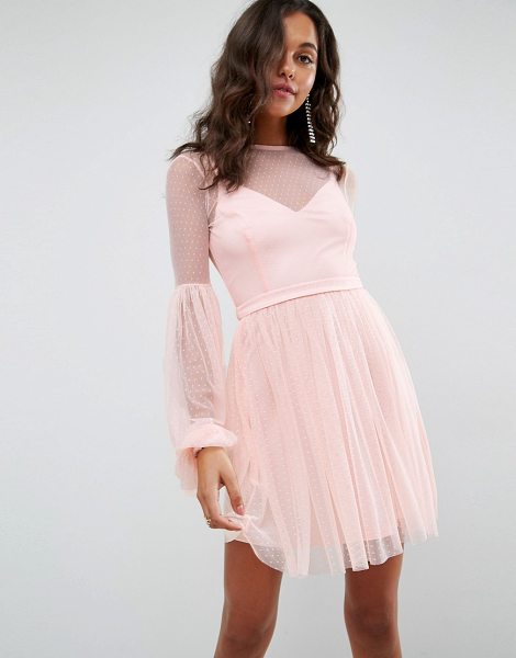 Asos Dobby Mesh Balloon Sleeve Mini Dress in pink - Dress by ASOS Collection, Semi-sheer dotted mesh,...