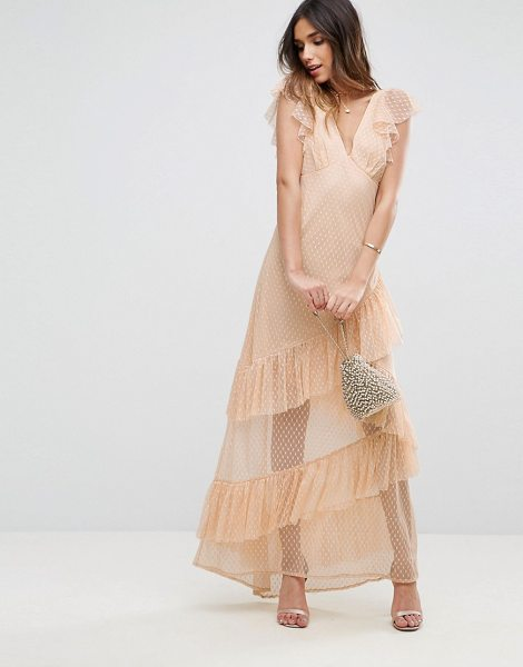 "Asos Dobby Mesh Ruffle Cut-About Maxi Dress in beige - """"Maxi dress by ASOS Collection, Sheer dobby mesh,..."