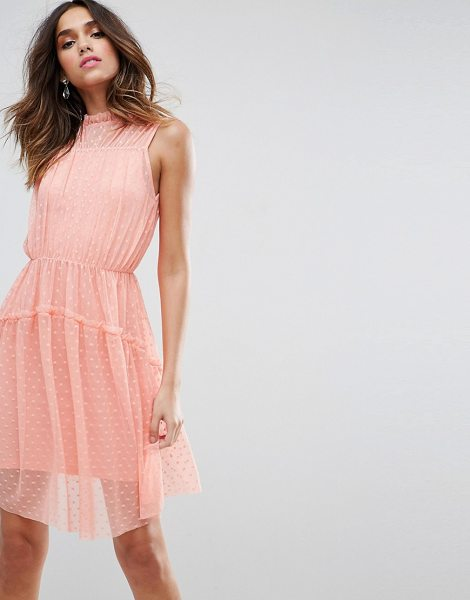 "Asos Dobby Skater Mini Dress With Strap Back in neonpink - """"Skater dress by ASOS Collection, Lightweight spotted..."