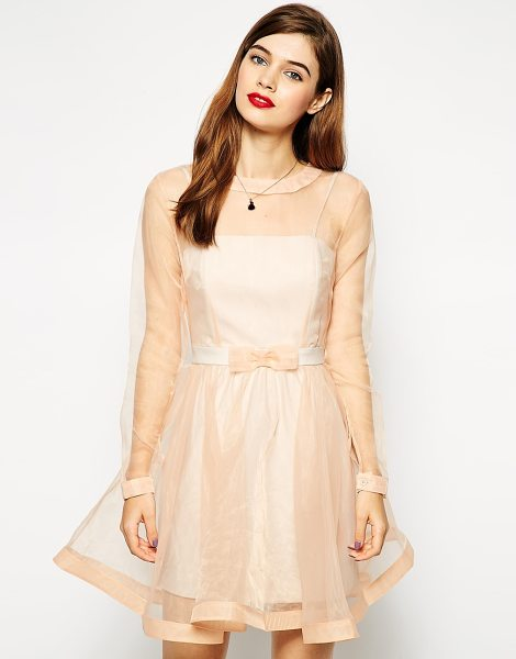 ASOS Dolly bow prom dress in nude - Party dress by ASOS Collection Super silky feel, sheer...