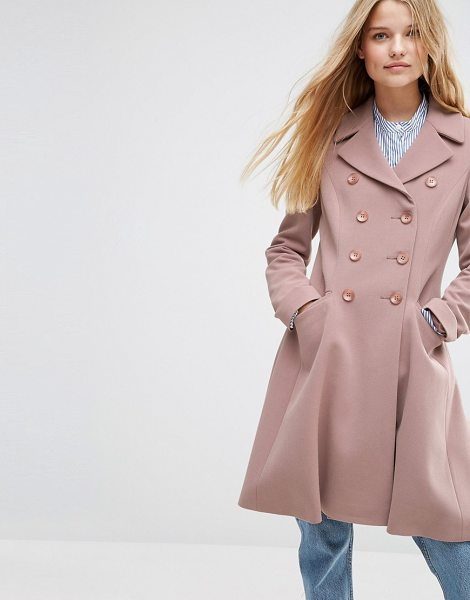 Asos Double Breasted Skater Coat in pink - Coat by ASOS Collection, Soft-touch crepe, Heavyweight...