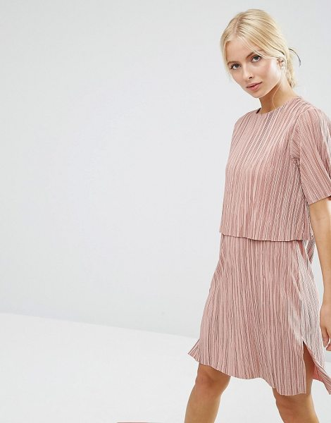 "ASOS Double Layer T-Shirt Dress In Plisse - """"Dress by ASOS Collection, Pleated slinky fabric, Round..."