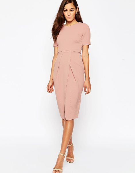 Asos Double Layer Textured Wiggle Dress in pink - Midi dress by ASOS Collection, Textured stretch fabric,...