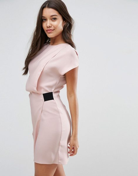 "ASOS DESIGN ASOS Drape Front Mini Dress with Elastic Detail in blush - """"Dress by ASOS Collection, Lightweight woven fabric,..."