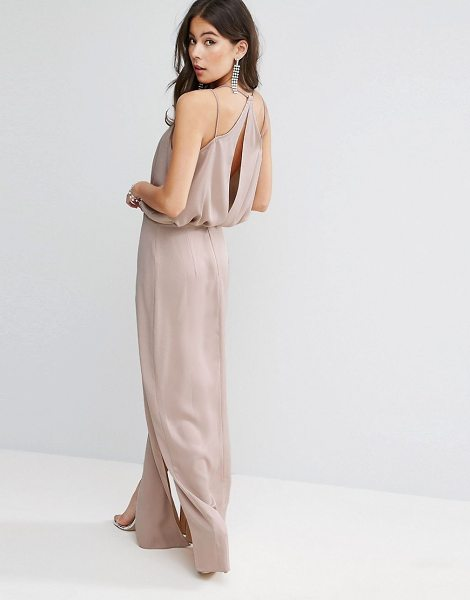 """ASOS DESIGN asos drape front strappy back maxi dress in rosedust - """"""""Maxi dress by ASOS Collection, Smooth woven fabric,..."""