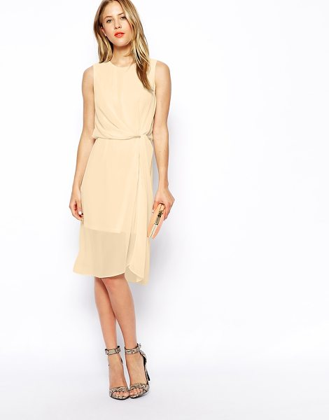 Asos Drape midi dress in stone - Evening dress by ASOS Collection Made from a semi sheer...