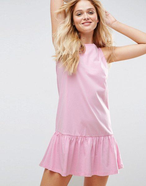 "Asos Dropped Hem Sleeveless Mini Smock Dress in pink - """"Dress by ASOS Collection, Soft-touch jersey, Crew..."