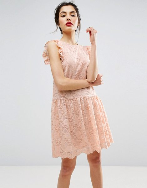 Asos Dropped Waist Lace Dress in pink