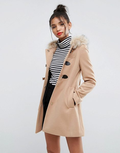 """ASOS DESIGN asos duffle coat with faux fur hood in camel - """"""""Coat by ASOS Collection, Midweight woven fabric, Fixed..."""