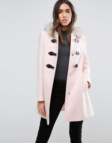 ASOS DESIGN duffle coat with faux fur hood in pink