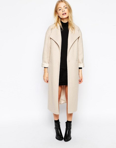 Asos Duster coat in textured wool in stone - Coat by ASOS Collection Mid-weight fluffy sweater Fully...