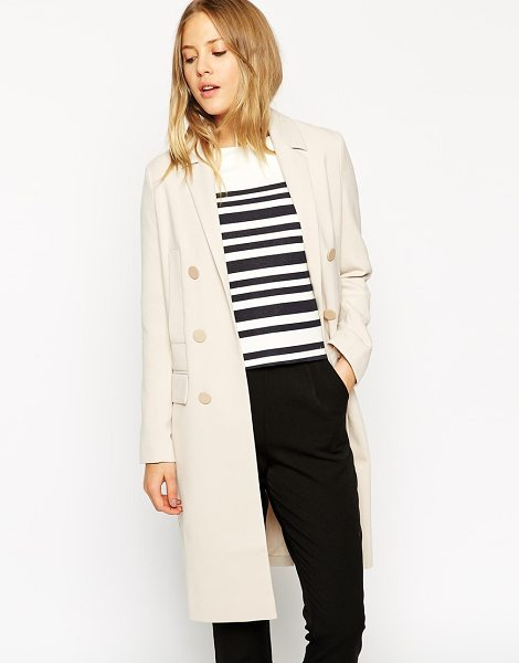 Asos Duster coat with edge to edge in stone - Coat by ASOS Collection Woven fabric Notch lapel Double...
