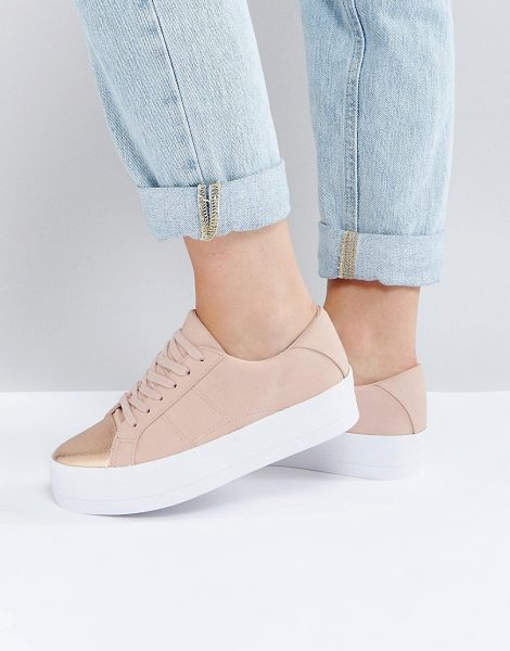 """Asos DUTY Lace Up Sneakers in beige - """"""""Sneakers by ASOS Collection, Faux-leather upper,..."""