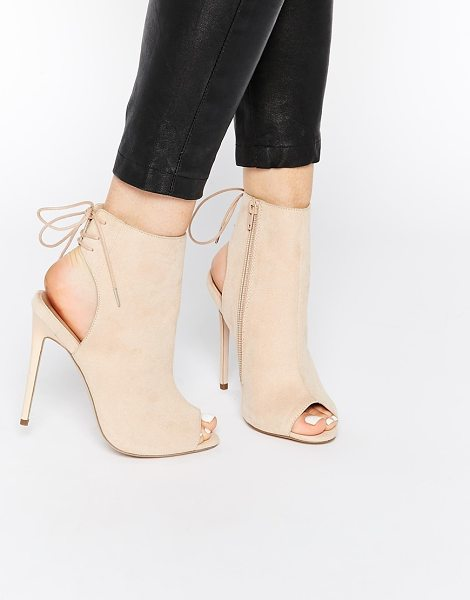 Asos East town peep toe shoe boots in nude - Boots by ASOS Collection, Suede-look upper, Cut-out...