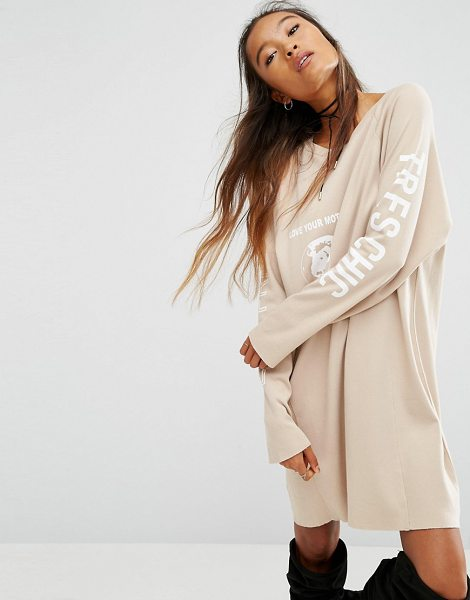 "Asos ECO Sweat Dress with Love Your Mother Print in beige - """"Dress by ASOS Collection, Organic cotton jersey,..."