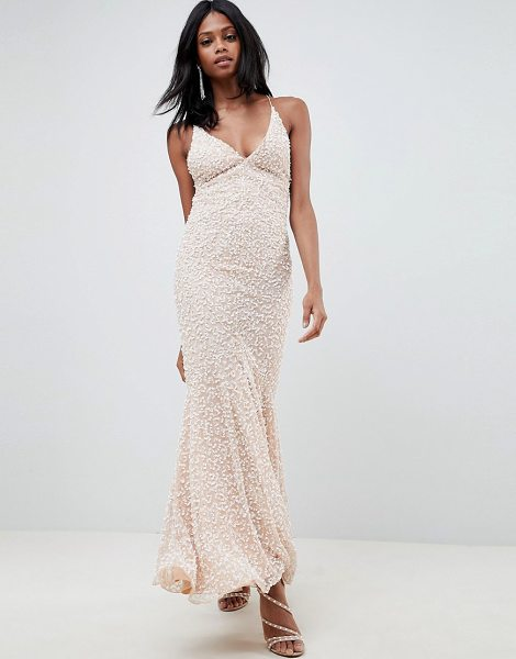ASOS Edition all over embellished strappy back maxi dress in blush - Dress by ASOS EDITION, Heavyweight finish, Fully lined,...