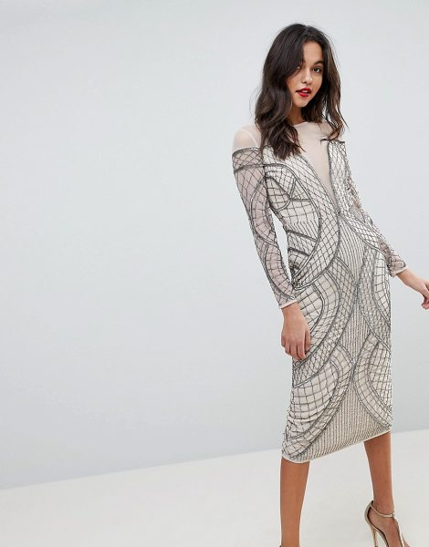 ASOS Edition embellished ergonomic bodycon midi dress in cream