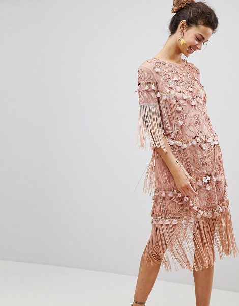 ASOS Edition loose t-shirt dress with embroidery and tassels mini dress in pink - Dress by ASOS EDITION, For that thing you have to go to,...