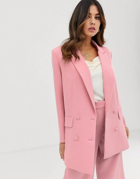 ASOS Edition double breasted jacket-pink in pink