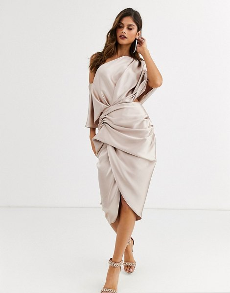 ASOS Edition drape asymmetric midi dress in satin-pink in pink
