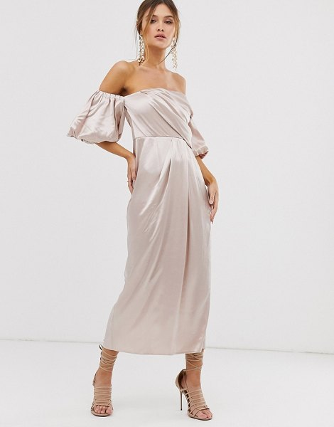 ASOS Edition drape off shoulder midi dress in satin in oyster