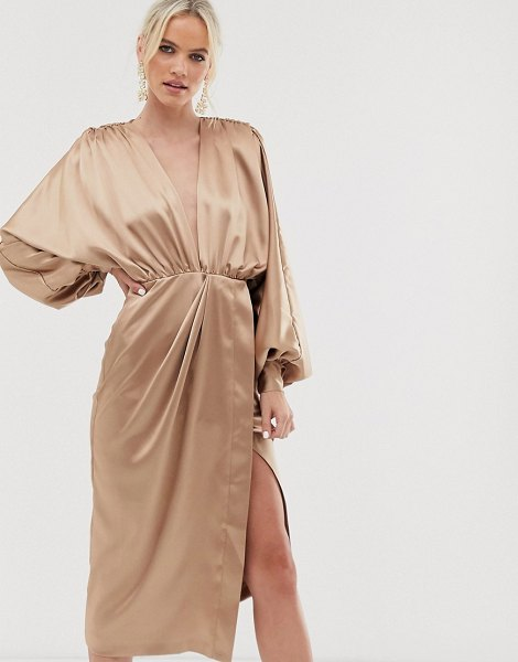 ASOS Edition extreme sleeve plunge midi dress in satin in caramel