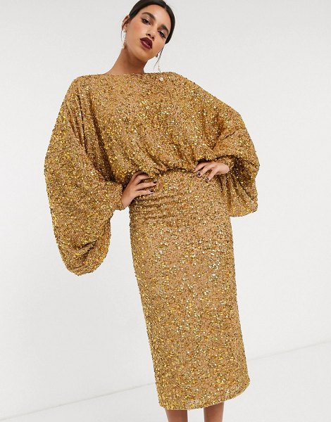 ASOS Edition extreme sleeve sequin midi dress-gold in gold