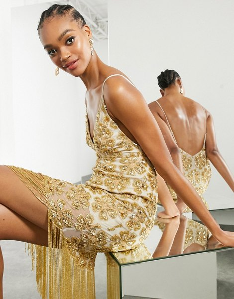 ASOS Edition floral sequin fringe cami midi dress in gold in gold