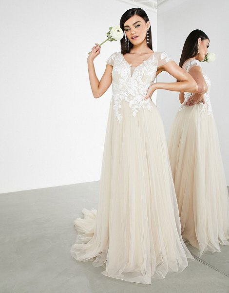 ASOS Edition josie mesh wedding dress with embroidered bodice and cap sleeve in cappuccino-neutral in neutral