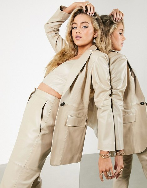 ASOS Edition leather blazer in stone-cream in cream