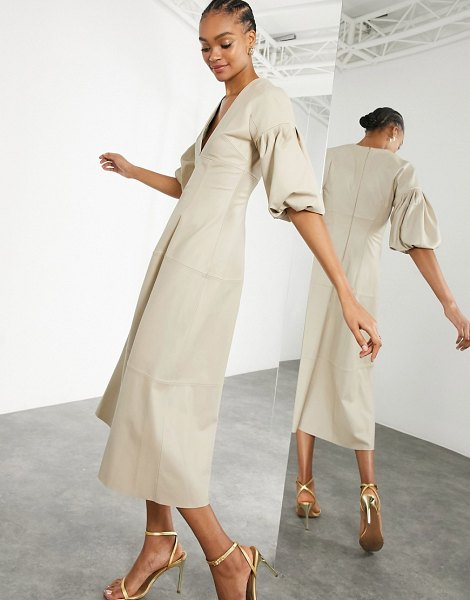 ASOS Edition leather midi dress with plunge and puff sleeve in stone-cream in cream